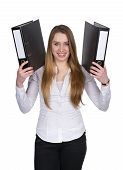 Young Woman Keeps Up Two Files