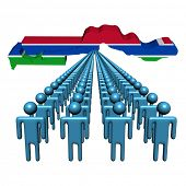 Lines of people with The Gambia map flag illustration