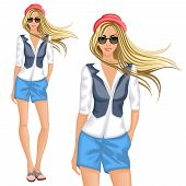 picture of chemise  - Blond hipster female girl character wearing chemise shorts vest hat sunglasses vector illustration - JPG