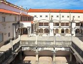 Courtyard, patio, surrounded by a gallery. The imposing medieval castle of the Knights Templar