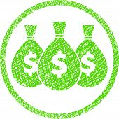 Money icon with three bags, symbol with hand drawn lines texture.
