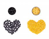 Two hearts form olives and corn.