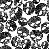Horror and hard rock theme repeating background, Skulls seamless pattern, hand drawn lines textures