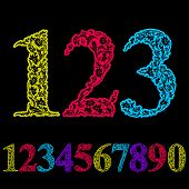 Beautiful floral numbers set, colorful flower-patterned numerals.