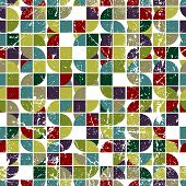 geometric textile abstract seamless pattern, spotted frayed mosaic canvas.