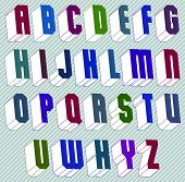 3d font with good style, simple shaped geometric letters alphabet,