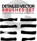 Set of highly detailed brush strokes, strokes saved in brush palette and ready to use.