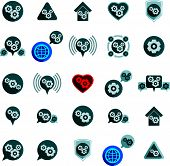 Gear system power development and progress theme unusual icons set, collection of special business a
