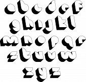 Futuristic black and white 3d font, shaped letters alphabet, best for use in web design and advertis