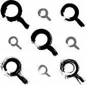 Set of hand-painted monochrome magnifying glass icons isolated on white background, collection