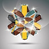 3D Metal Glossy Kaleidoscope Complicated Object. Vector Festive Complex Geometric Illustration - Eps