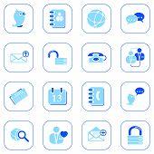 Social media & blog icons - blue series