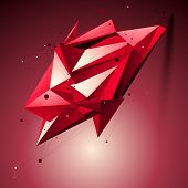 Ruby Spatial Technological Shape, Polygonal Wireframe Object Placed Over Shaded Background.