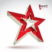 3D Mesh Soviet Red Star Sign Isolated On White Background