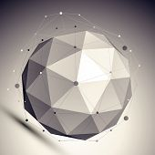 3D mesh shadow style abstract background, origami futuristic template with globe and asymmetric line