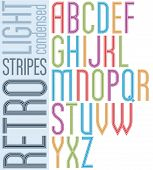 Poster Retro Striped Font, Bright Condensed Geometric Uppercase Letters On White Background.