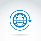 Blue Globe With Rotation And Circulation Icon, Conceptual Stylish Symbol For Your Design.