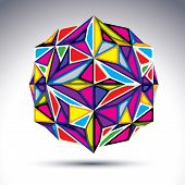 Rich 3D Abstract Psychedelic Fractal Figure. Vector Vivid Complicated Design Object, Kaleidoscope