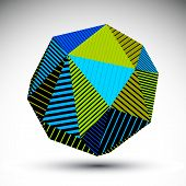 Vivid Abstract 3D Spatial Vector Contrast Figure, Art Spherical Striped Object.  Bright