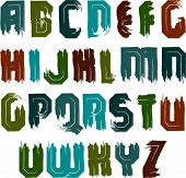 Vector alphabet letters set, hand-drawn colorful script, bright brushed capital letters.
