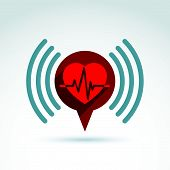 Cardiology cardiogram heart beat information icon, conceptual special icon for your design.