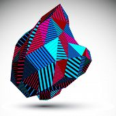 Multifaceted Asymmetric Contrast Figure With Parallel Lines. Striped Colorful Abstract object