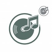 Vinyl Icon Isolated, Single Color Vector Music Theme Symbol For Your Design.