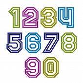 Colorful Regular Stripy Numeration, Modern Poster Numbers With Outline And Straight Lines.