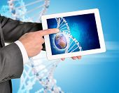 Man hands using tablet pc. Image of Earth and DNA helix on screen