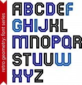 Double lines geometric font, colorful uppercase letters set for posters and web design.