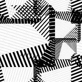 Black and white rhythmic textured endless pattern, continuous grunge geometric background.