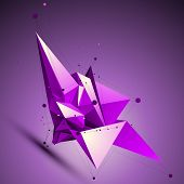 picture of spatial  - Purple spatial technological shape polygonal wireframe object placed over shaded background - JPG