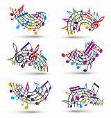 Bright Jolly Vector Staves With Musical Notes On White Background, Decorative musical notation