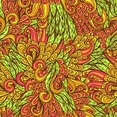 Seamless Floral Orange And Green Hand Drawn Doodle Pattern