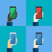 Four Smartphones In Hands. Vector Illustration.