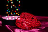 Open Gift Box Shaped Heart With Bokeh