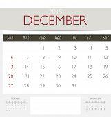 2015 calendar, monthly calendar template for December. Vector illustration.