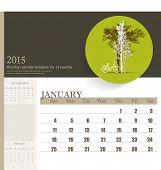 2015 calendar, monthly calendar template for January. Vector illustration.