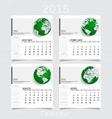 Simple 2015 year calendar (January, February, March, April). Vector illustration.