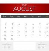 Simple 2015 calendar, August. Vector illustration.