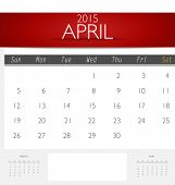 Simple 2015 calendar, April. Vector illustration.