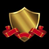Gold Shield And Red Ribbon.