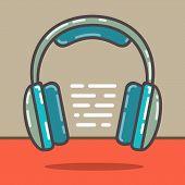 Headphones In Flat Line Style