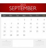 Simple 2015 calendar, September. Vector illustration.