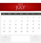 Simple 2015 calendar, July. Vector illustration.