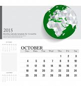 Simple 2015 calendar, October. Vector illustration.