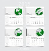 Simple 2015 year calendar (September, October, November, December). Vector illustration.