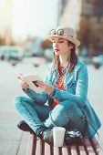 Hipster Girl In Hat And Glasses With Book