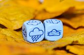 Weather Of Autumn Shown On Dice