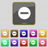 Stop sign icon. Prohibition symbol. No sign. Set colourful buttons. Vector